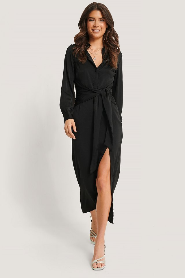 Knot Front Maxi Shirt Dress