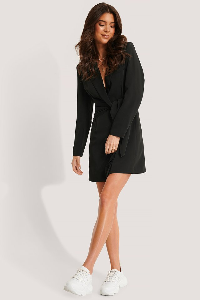 Overlap Knot Blazer Dress