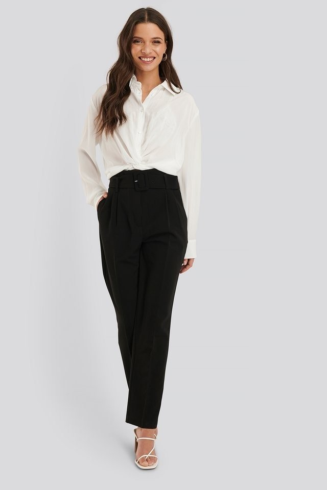 Belted Straight Leg Suit Pants