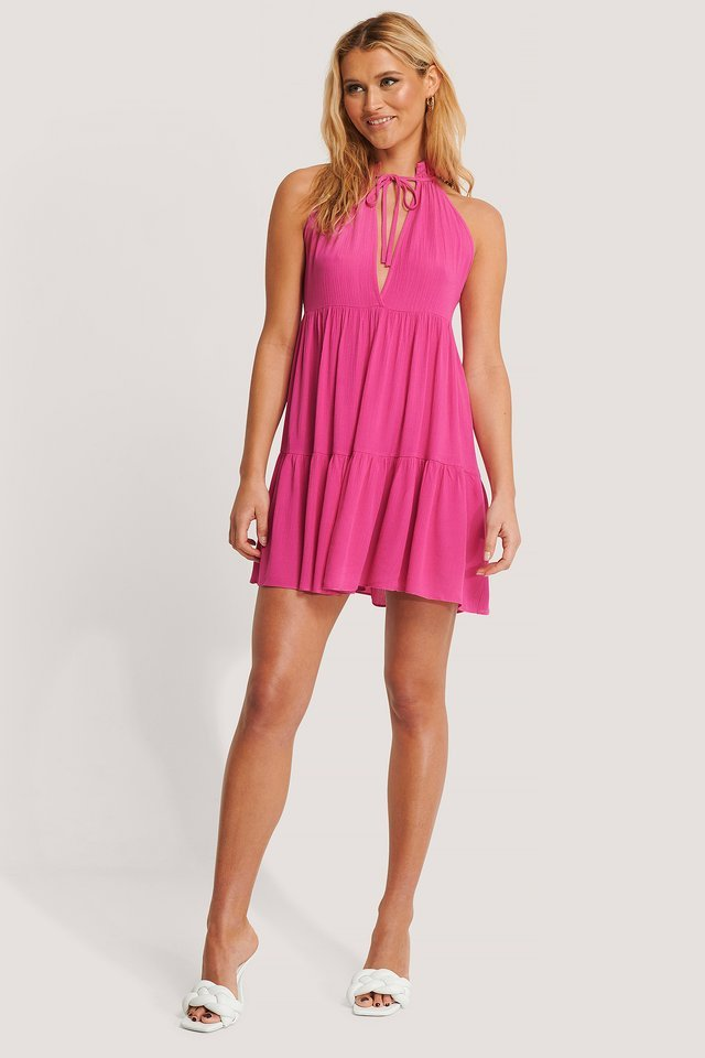 Halter Neckline Mini Dress Outfit
