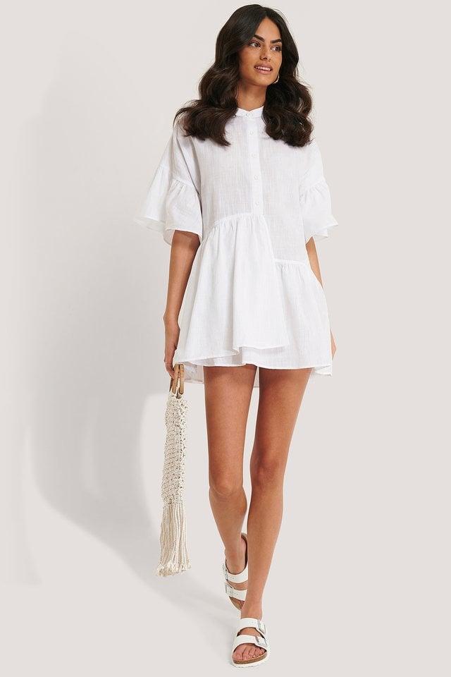Ruffle Short Sleeve Mini Dress