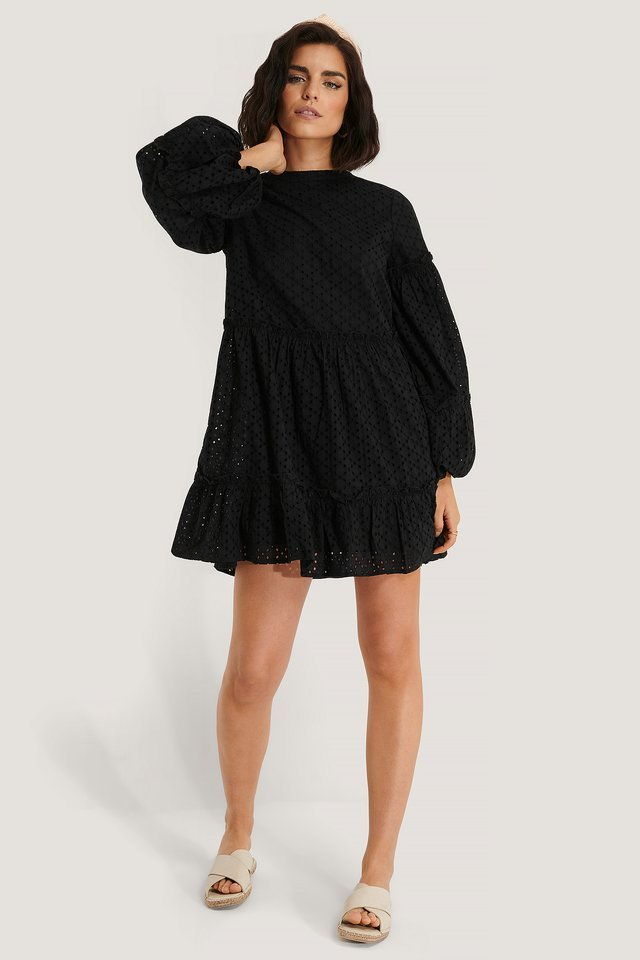 Anglaise Balloon Sleeve Frill Dress