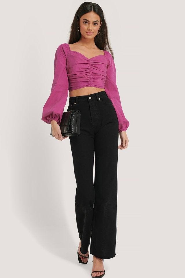 Black Straight High Waist Jeans