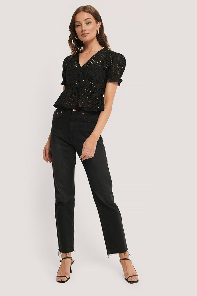 Black V-Neck Anglaise Peplum Top
