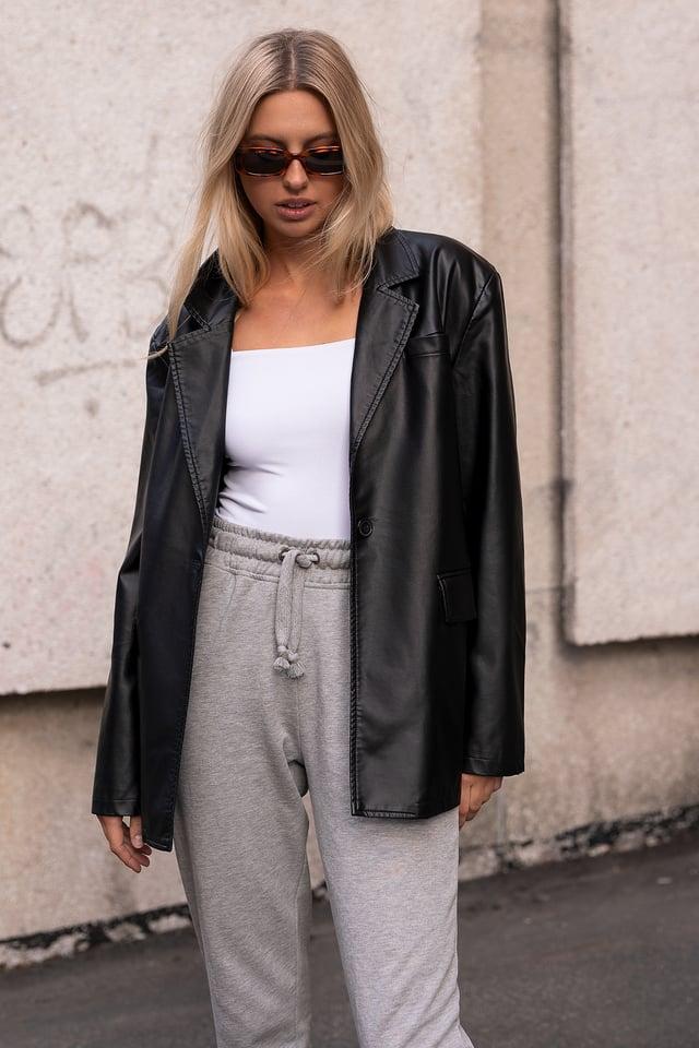 Oversized PU Blazer Loungewear outfit