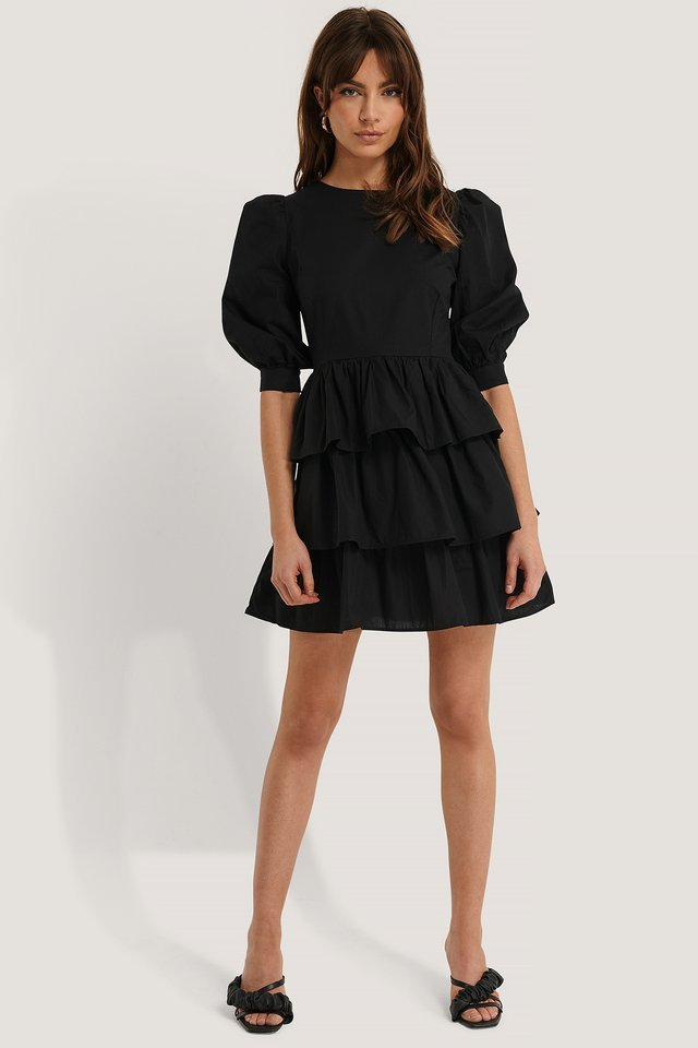 Puff Sleeve Ruffle Mini Dress