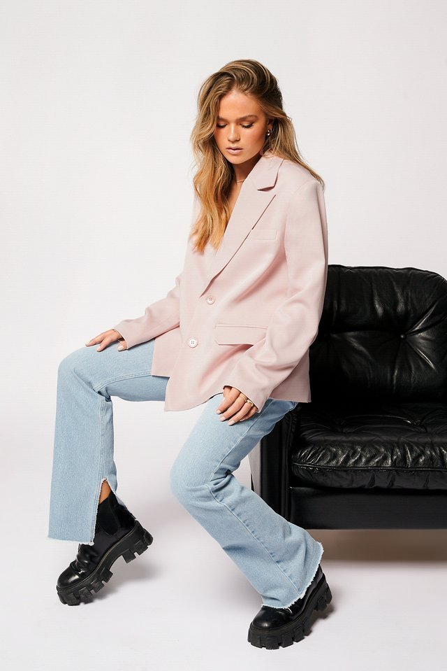 Pink Loose Fitted Blazer