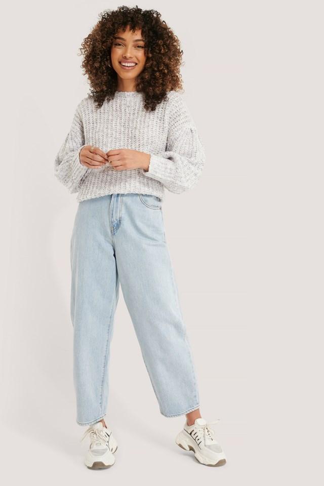 Short Puff Sleeve Melange Sweater