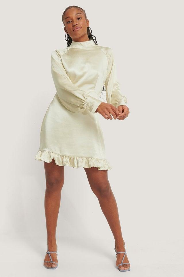 High Neck Satin Mini Dress