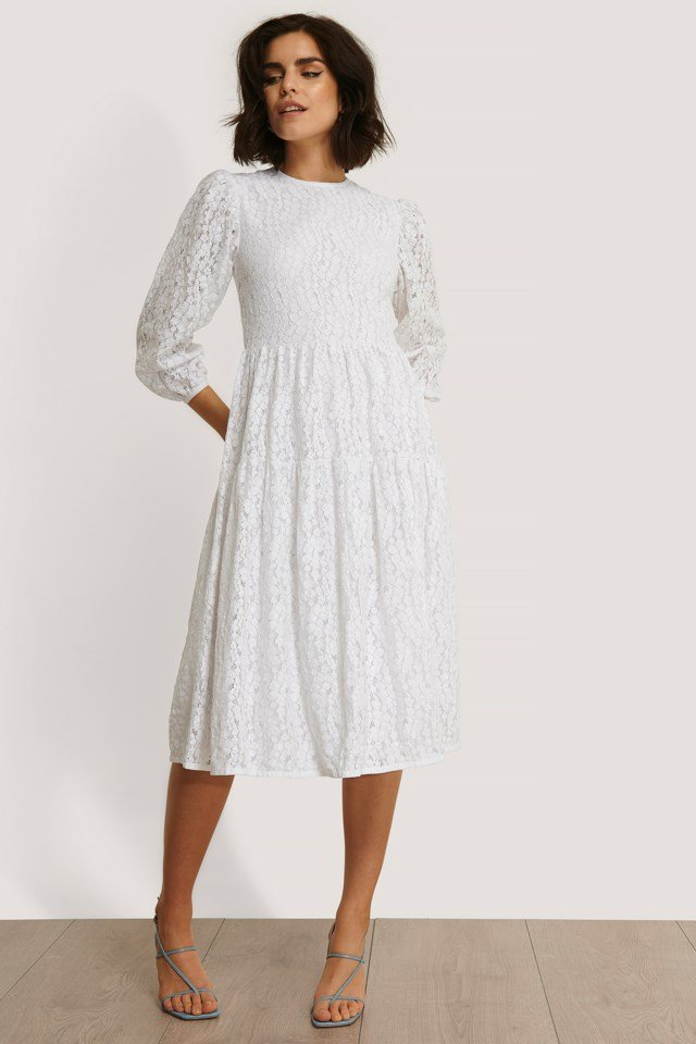 Lace Puff Sleeve Dress