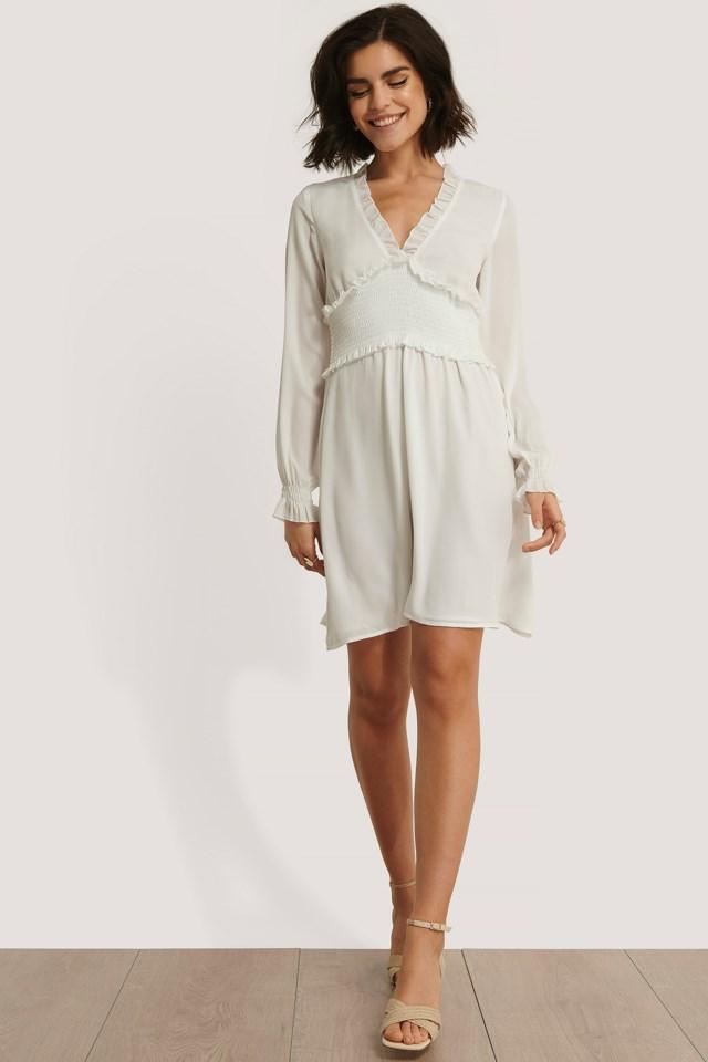 Smock Detail V-Neck Mini Dress