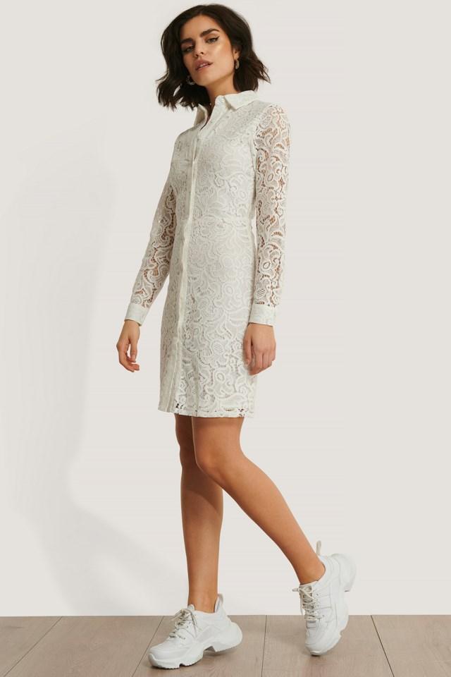 Lace Collar LS Mini Dress