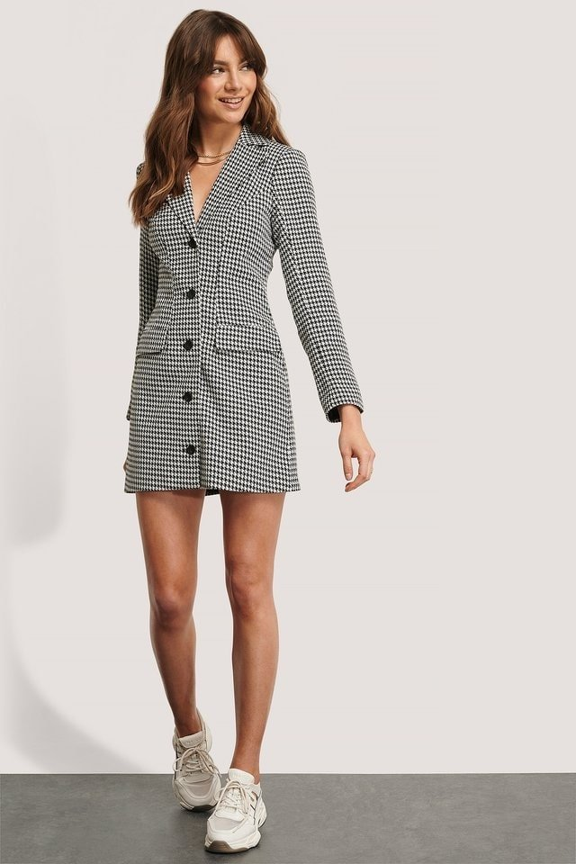 Marked Shoulders Blazer Dress