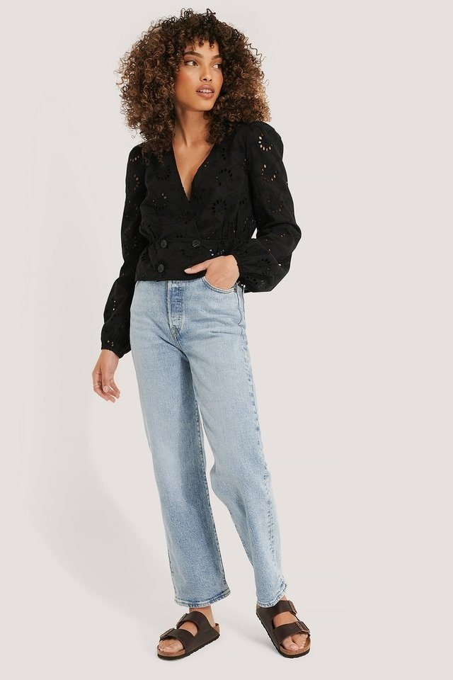 Buttoned Anglaise Balloon Sleeve Blouse