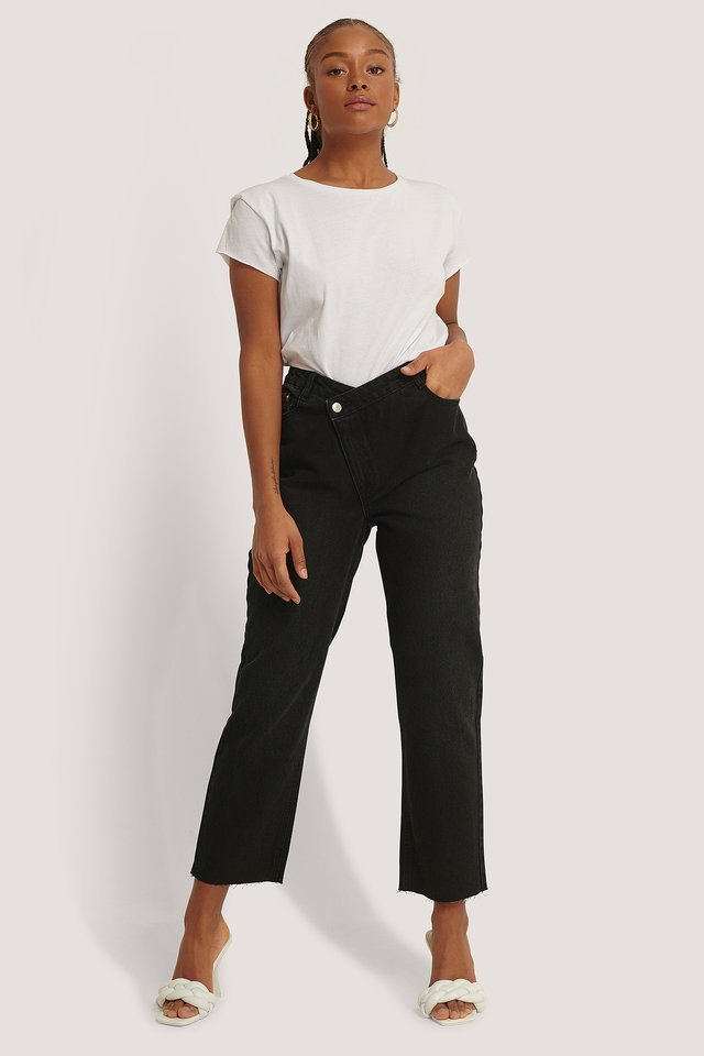 High Waist Asymmetric Closure Straight Jeans