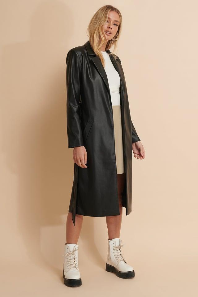 Pu Belted Coat
