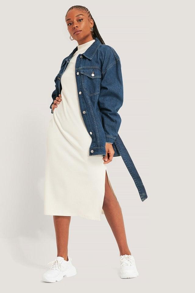 Mid Blue Denim Belted Jacket