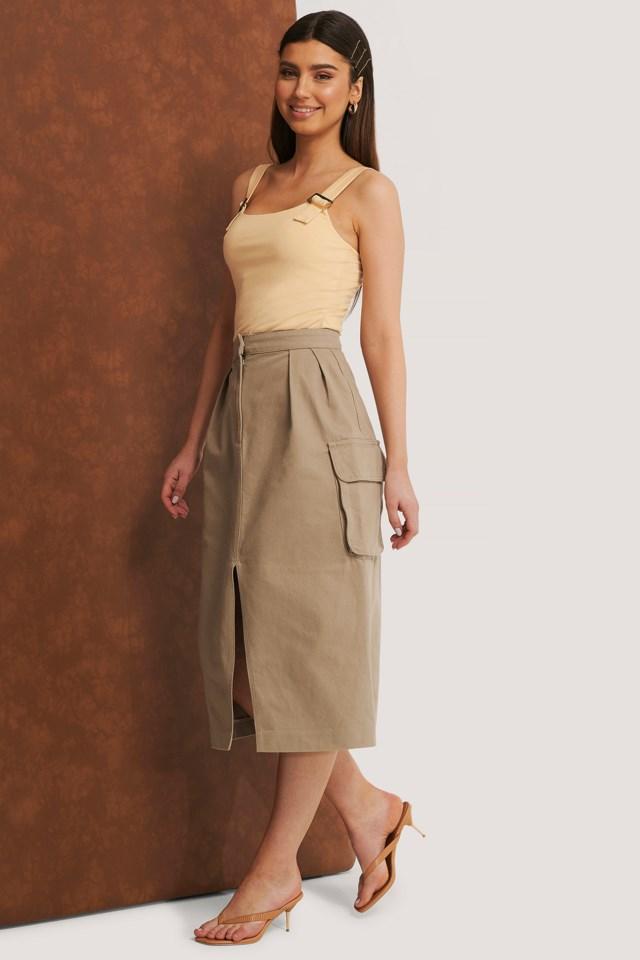 Front Slit Cargo Midi Skirt