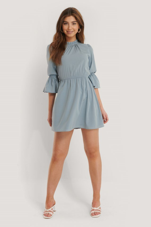 High Frill Neck Mini Dress