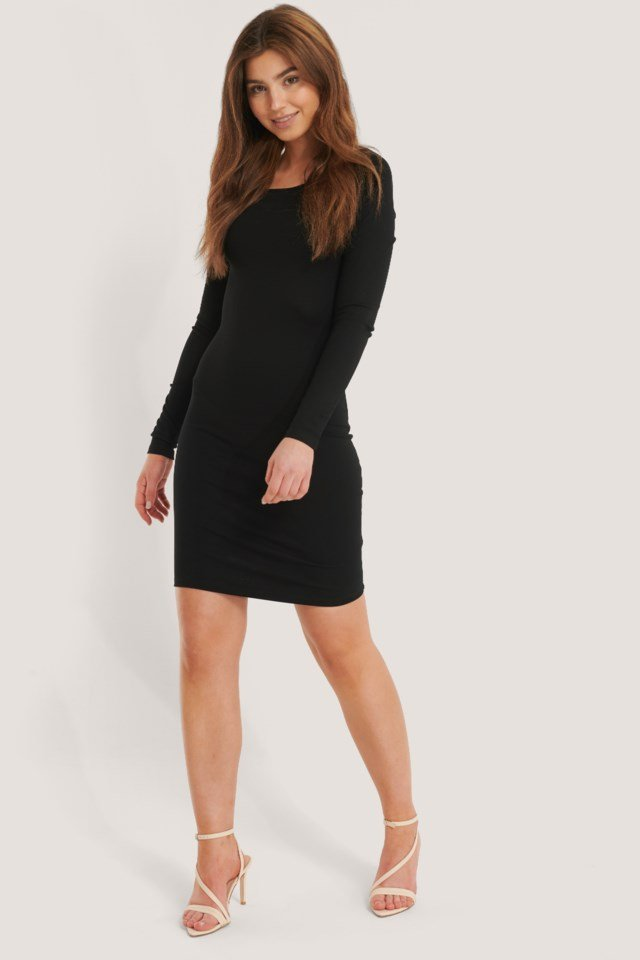 Boat Neck Mini Jersey Dress