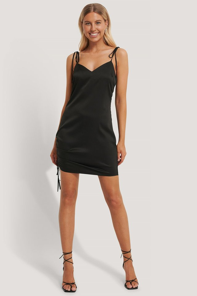 Satin Drawstring Mini Dress Outfit