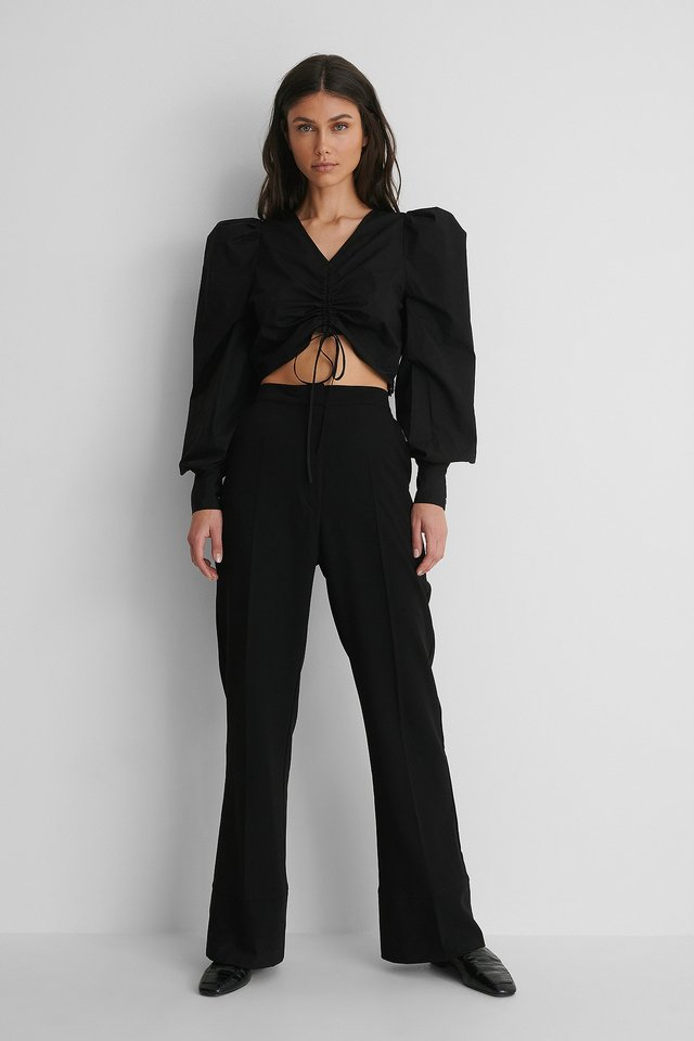 Cotton Drawstring Top with Suit Pants.