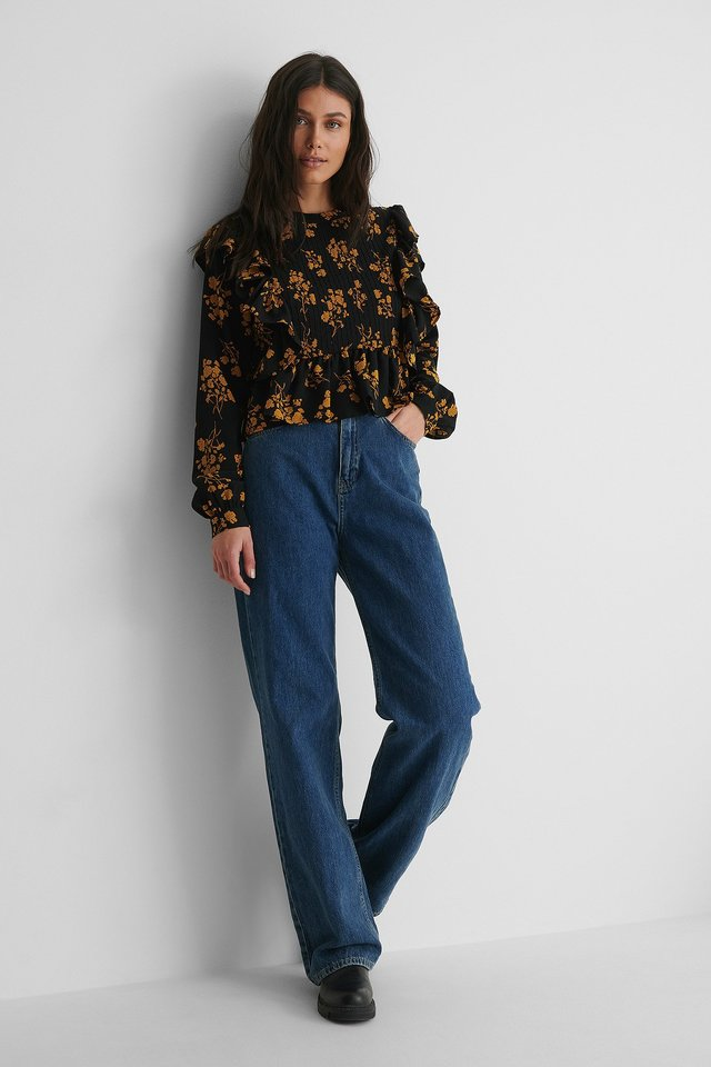Pintucked Blouse with Wide Denim and Boots.