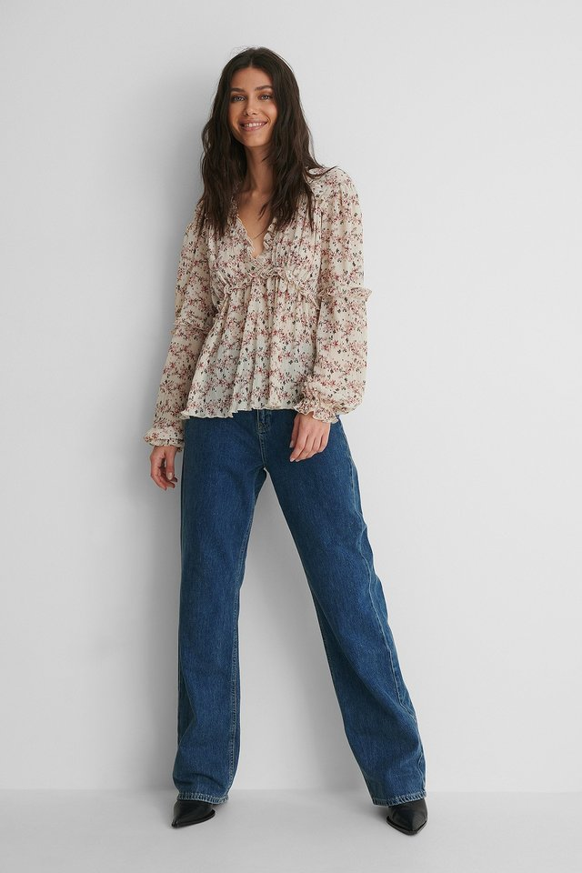 Structured Printed Frill Blouse with Dark Blue Denim.