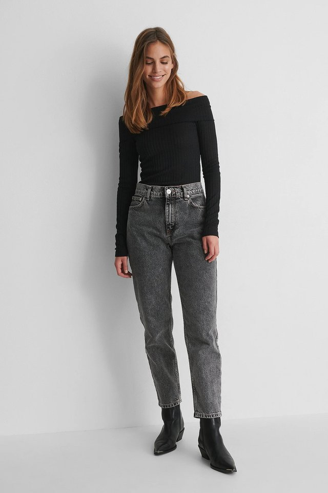 Long Sleeve Rib Overlap Top with Grey Jeans and Black Boots.