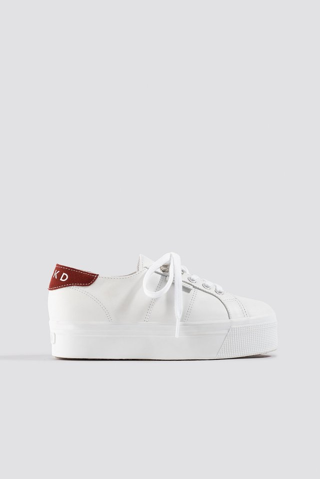 White/Red Leather Flatform Sneaker