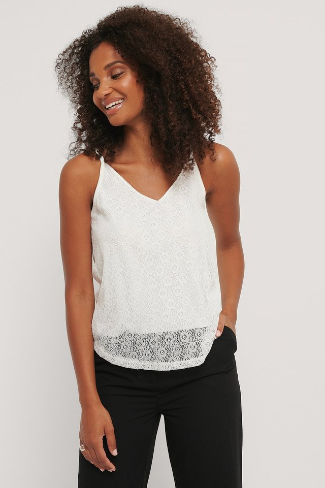 Lace Knitted Top White