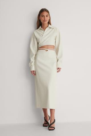 White Tie Waist PU Skirt