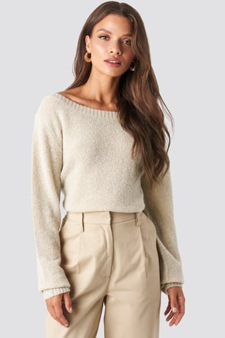 Beige Boat Neck Knitted Sweater