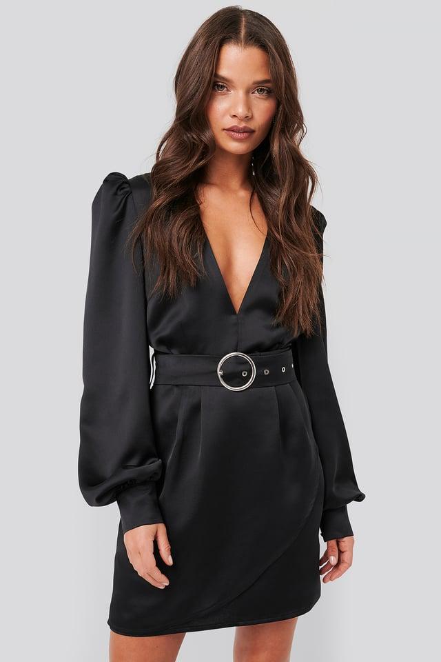 Puffy Sleeve Belted Satin Dress Black