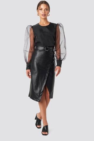 Black Overlapped Faux Leather Midi Skirt