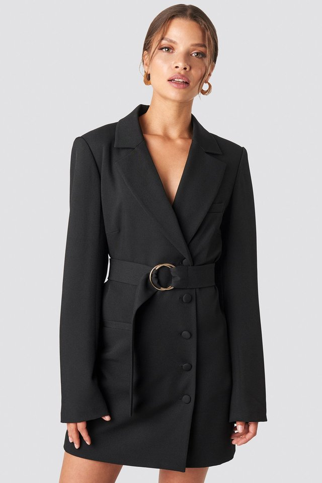Oversized O-belted Blazer Dress Black
