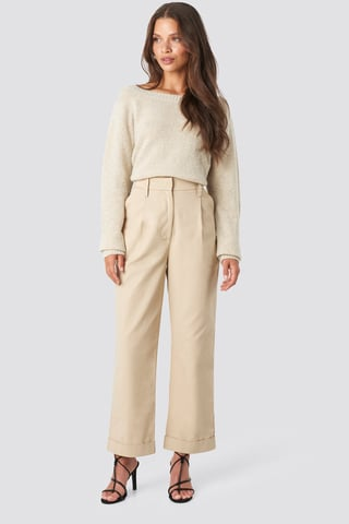 Beige Straight Cargo Pants