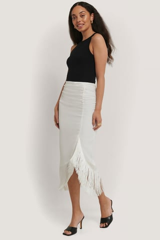 Cream Frilled Satin Skirt