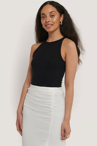 Black Front Seam Top