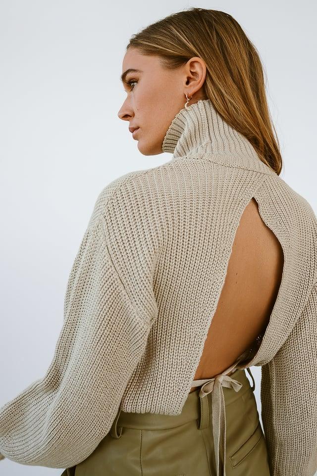 Beige Open Back Knit Sweater