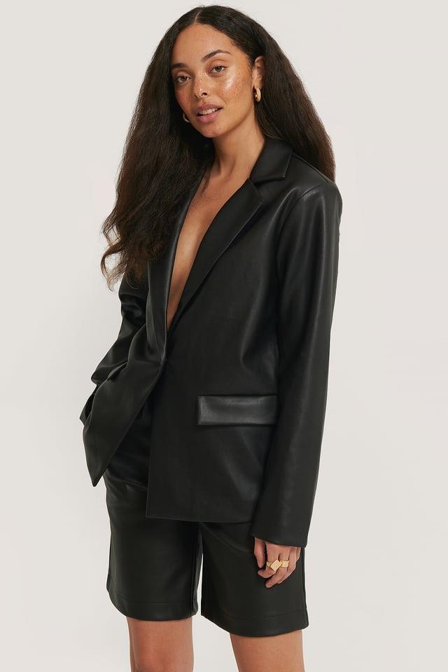 Oversize Blazer I Pu Black
