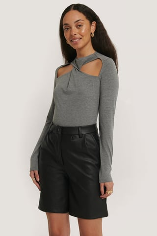 Black Pu Shorts