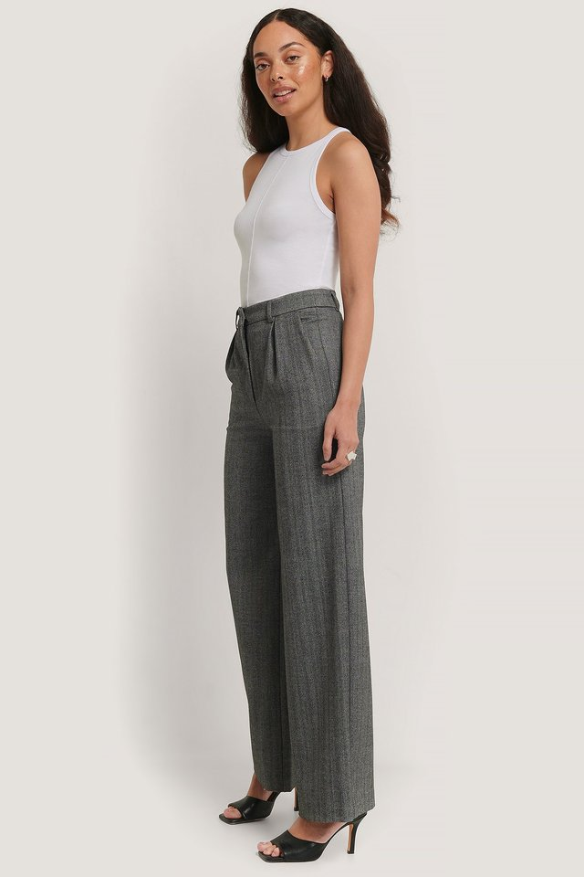 Grey Melange Wide Wool Blend Pants