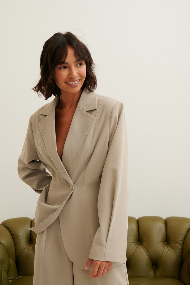 Boxy Fitted Waist Blazer Grey