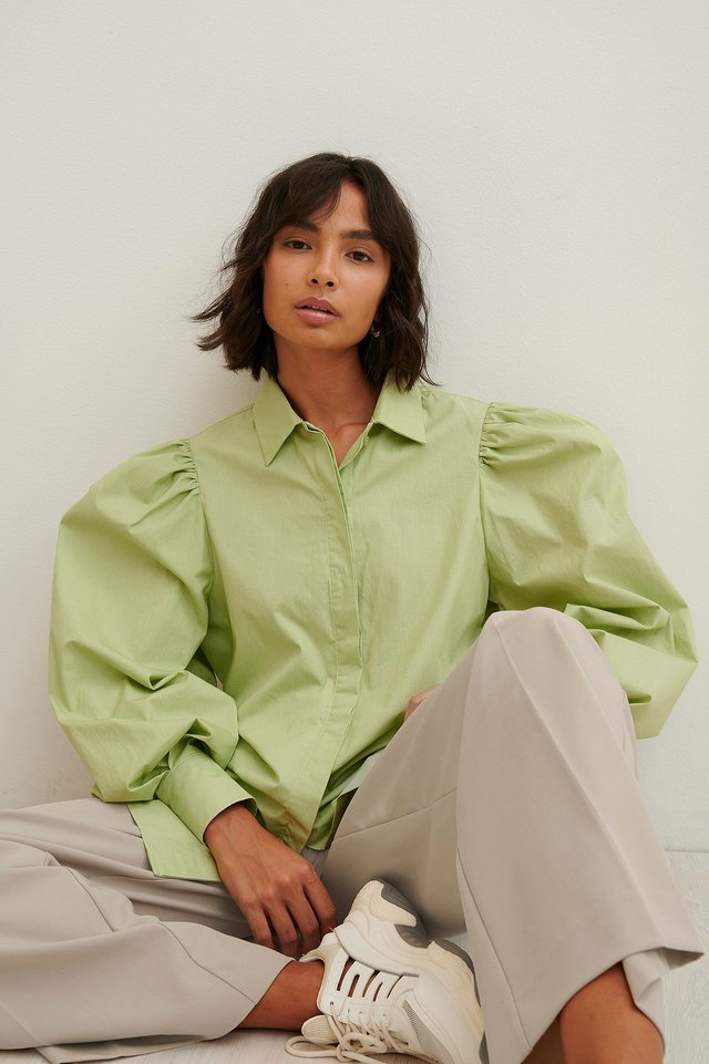 Maxi Balloon Sleeve Shirt Light Green