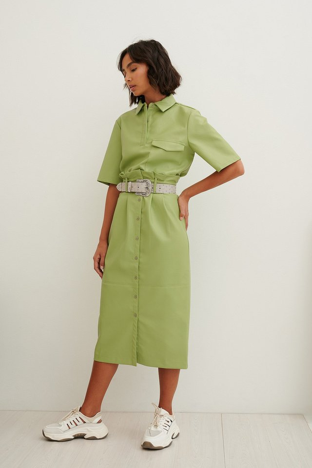 Paperwaist Pu Midi Skirt Green