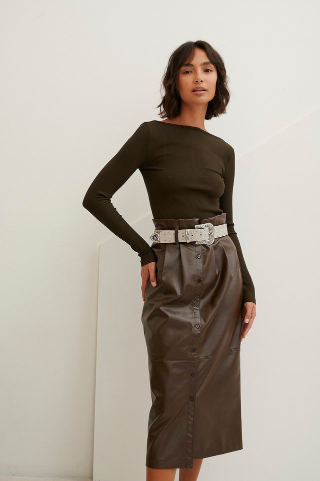 Paperwaist Pu Midi Skirt Brown