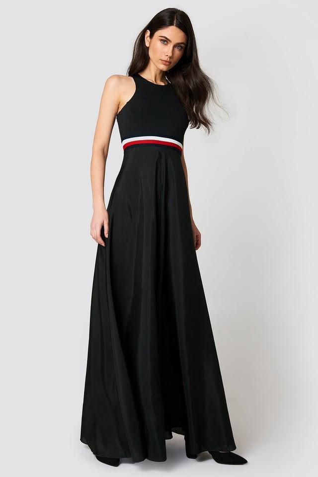 Gigi Hadid Silk Racer Back Maxi Dress Black Beauty