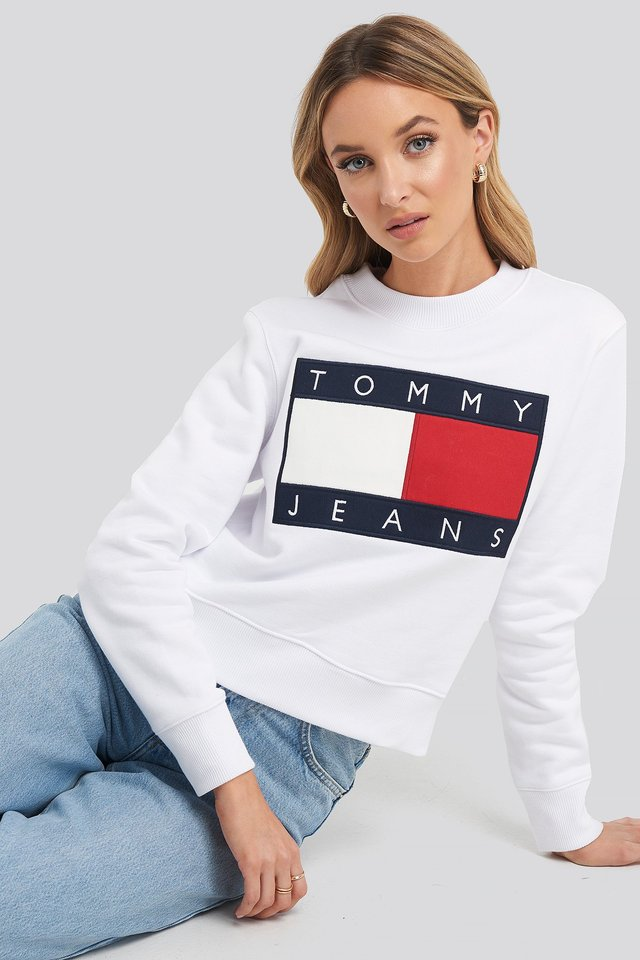 Tommy Flag Crew Classic White