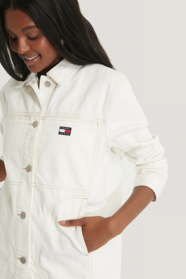 Work White Rigid Oversize-Jeansjacke